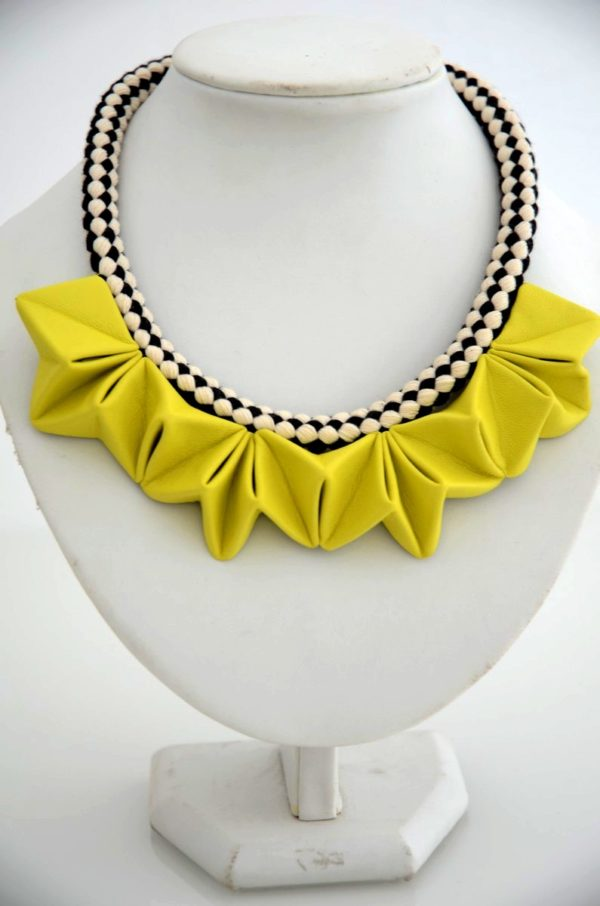 collier origami jaune soleil (5)