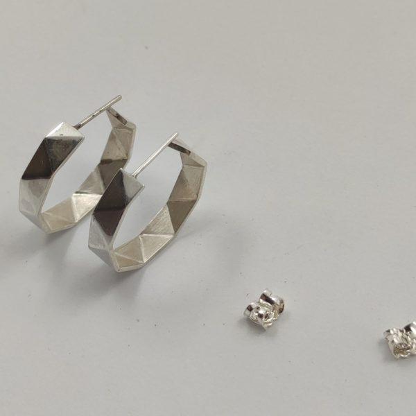 origami Créoles argent (2)