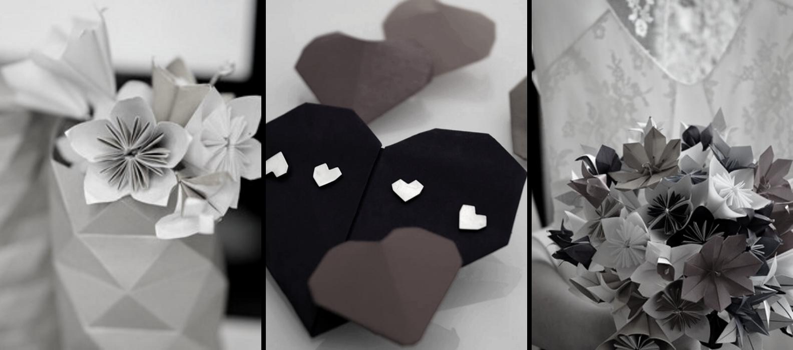 bannière page origami mariage